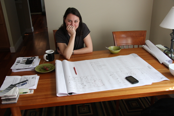Sachi reviewing an electrical plan in 2009