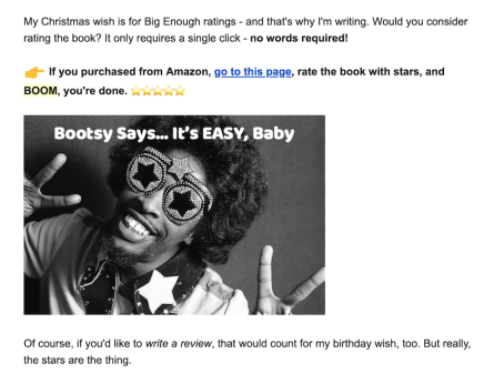 Email screenshot bootsy collins