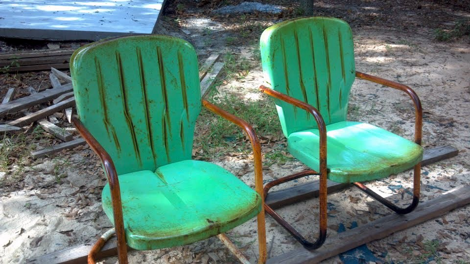old metal chairs swing chair measurements surfaces of lawn the