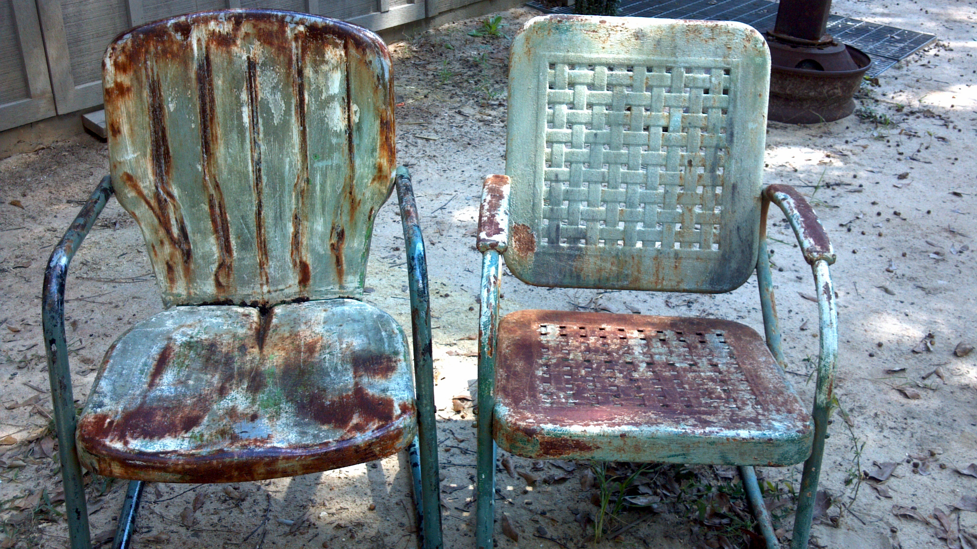 old metal chairs black frame sling patio preserving the surfaces of lawn