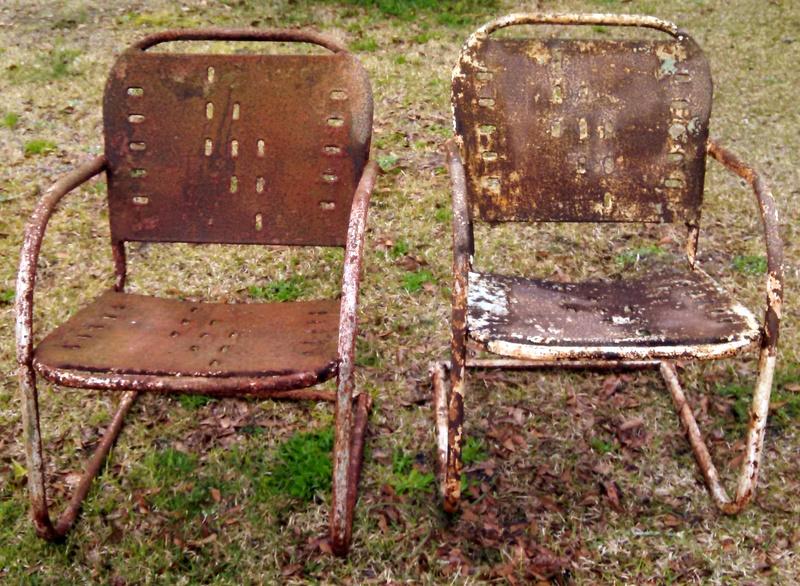 old metal chairs twin sleeper chair memory foam mattress lawn img 20150321 123826 397