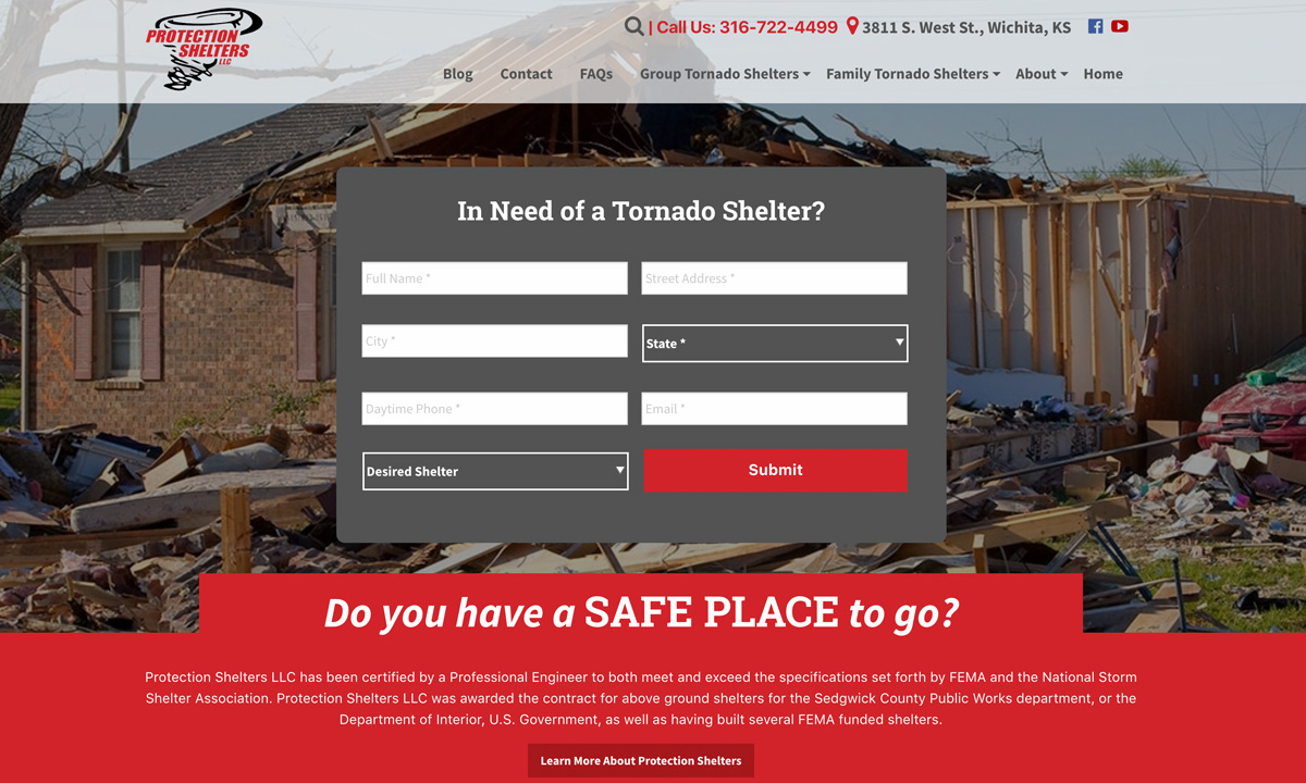 Protection Shelters New Website
