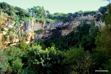 the view from partway down the sinkhole (Qrendi, Malta)