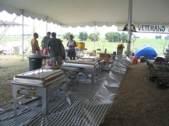 A caterer moved his whole operation to Camp Casey event center. Everyone ate for free. All shared their food, rooms, sunscreen and hand sanitizer.