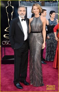 George Clooney in Armani. Stacy Keibler in Naeem Khan