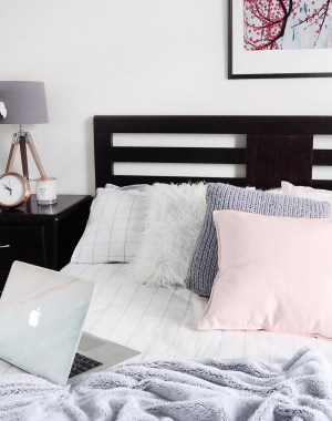 Home decor, bedroom. styling, blush & grey