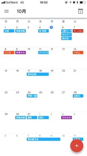 Googleカレンダーの月表示