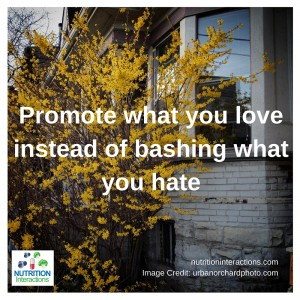 Promote what you love instead of bashing