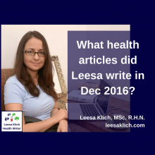 What health articles did Leesa write in December 2016?