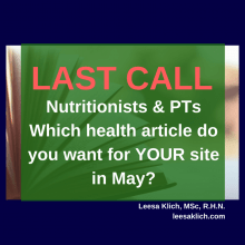 Which health articles do you want for YOUR site in May?