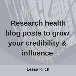 research health blog posts credibility