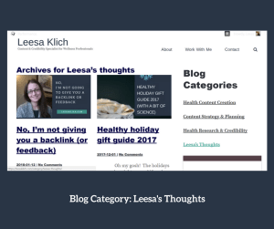 categories ideas Leesa's thoughts