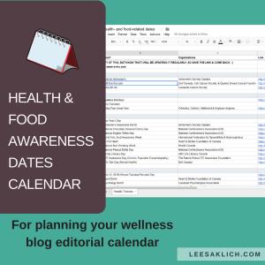 Health & food awareness dates calendar