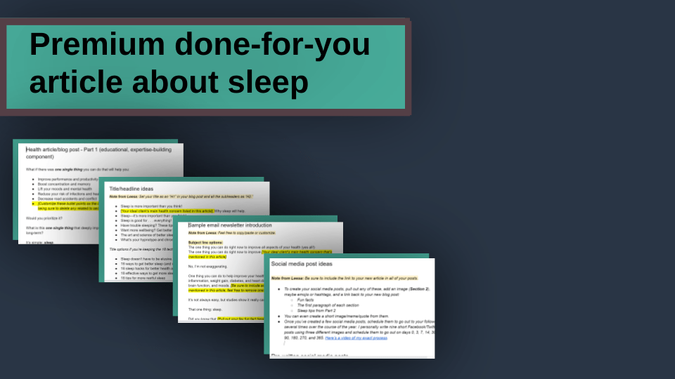 done-for-you article on sleep showing four items