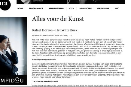 """Christophe Vekeman: """"Alles voor de Kunst Rafael Horzon – Het Witte Boek EEN ONGRIJPBARE GEK/ TOPSCHRIJVER/ LUL"""""""