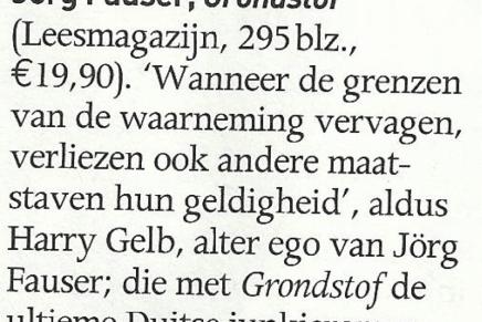Jörg Fauser, Grondstof in De Keuze, Knack Magazine 16-4