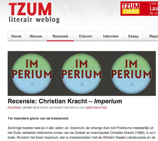 Christian Kracht recensie Tzum, Johannes van der Sluis