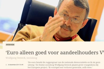 Jean Vanempten 'Euro alleen goed voor aandeelhouders VW'  Wolfgang Streeck, socioloog