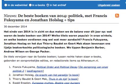Ewald Engelen Europese Mythes, Leesmagazijn De beste boeken van 2014: politiek,  tips Boekhandel Atheneum