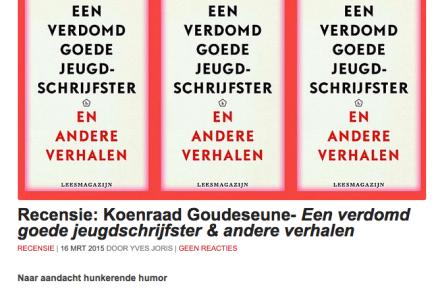 Recensie: Koenraad Goudeseune- Een verdomd goede jeugdschrijfster & andere verhalen | 16 MRT 2015 DOOR YVES JORIS
