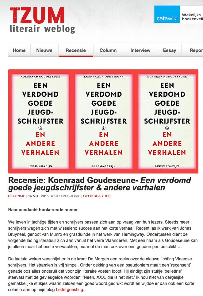 Een verdomd goede jeugdschrijfster en andere verhalen, Koenraad Goudeseune, Tzum 16 Maart 2015