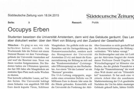 'Occupys Erben', Süddeutsche Zeitung, Thomas Kirchner, 17. April 2015