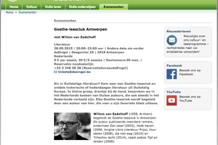 Johann Holtrop van Rainald Goetz, Goethe-leesclub Antwerpen met Willem van Zadelhoff