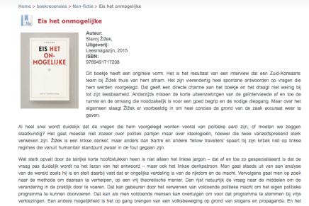 Eis het onmogelijke, Slavoj Zizek, boek recensie, Karel D'huyvetters, Humanistische Vrijzinnige Vereniging