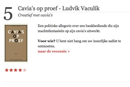 Cavia's op proef in 5 beste boeken van de week van De Standaard, 17-7-15