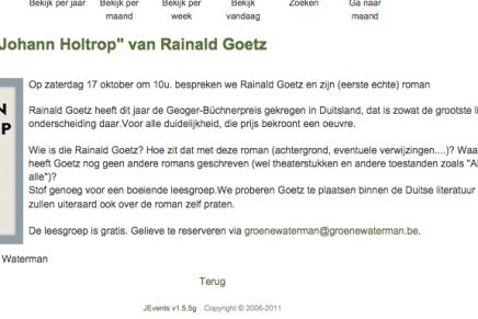 Boekhandel De Groene Waterman, Antwerpen, leesgroep Johann Holtrop 17 Oktober aanstaande