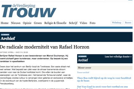 ANTOINE VERBIJ ✝ wordt gemist ! De radicale moderniteit van Rafael Horzon − 04/01/14