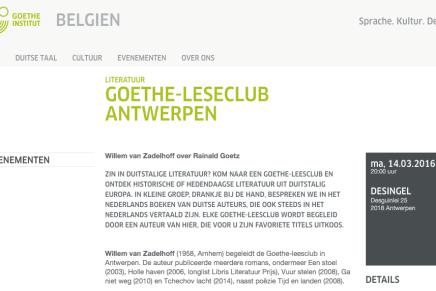 GOETHE-LESECLUB ANTWERPEN  Willem van Zadelhoff over Rainald Goetz