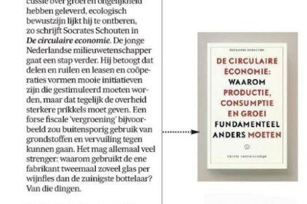 Circulaire Economie, Socrates Schouten, De Morgen, 6 april 2016