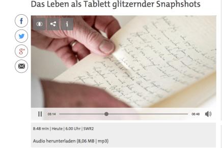 Das Leben als Tablett glitzernder Snapshots, Joachim Bessing