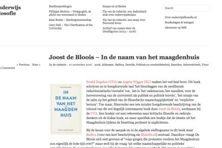 Joost de Bloois – In de naam van het maagdenhuis, in onderwijs filosofie