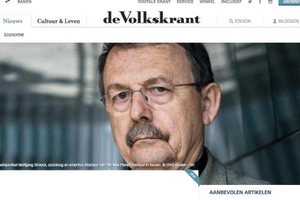 Onheilsprofeet Wolfgang Streeck voorspelt kapitalistische apocalyps 'Het kapitalisme gaat ten onder aan een overdosis van zichzelf', Koen Haegens, Volkskrant 18-02-2017