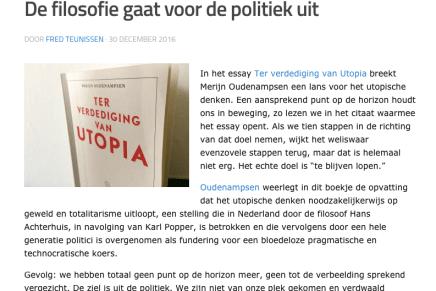 De filosofie gaat voor de politiek uit, Fred Teunissen, Transitieweb, 30-12-2016