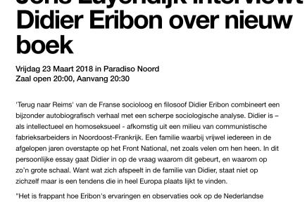 Joris Luyendijk interviewt Didier Eribon over nieuw boek, Terug naar Reims