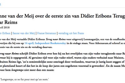 Sanne van der Meij over de eerste zin van Didier Eribons Terug naar Reims 12 april 2018, Athenaeum Boekhandel
