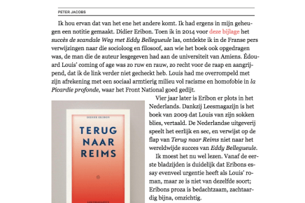 Eddy, Didier en James, Peter Jacobs, De Standaard, 20 April 2018