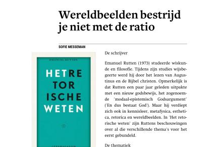 Trouw boekrecensie Filosofie — Wereldbeelden bestrijd je niet met de ratio, Sofie Messeman, 30 mei 2018