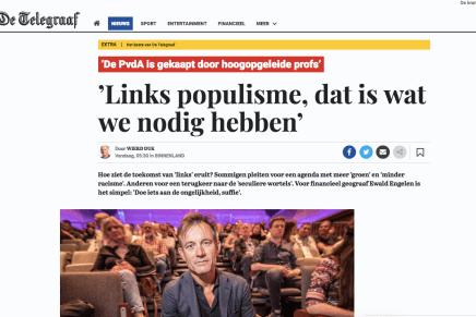 'Links populisme, dat is wat we nodig hebben, Wierd Duk, De Tegraaf, 24 mei