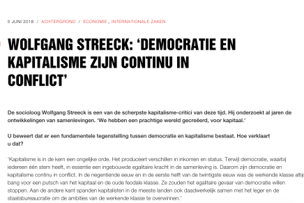 WOLFGANG STREECK: 'DEMOCRATIE EN KAPITALISME ZIJN CONTINU IN CONFLICT', Edouard van Scheltinga, SP.nl