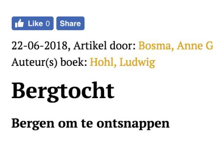 Hohl, Ludwig, Bergtocht Bergen om te ontsnappen Anne Geert Bosma
