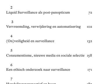inhoudsopgave: Liquid Surveillance, Zygmunt Bauman, David Lyon