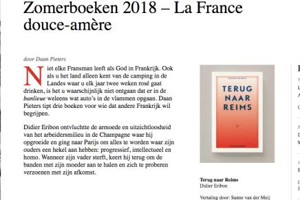 Zomerboeken 2018, Terug naar Reims, Didier Eribon, Daan Pieters, Literair Nederland