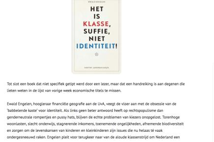 Het is klasse, suffie. Ewald Engelen 'Verplichte kost' op leeslijst Vrij-Links