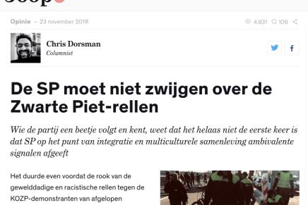 De SP moet niet zwijgen over de Zwarte Piet-rellen, Chris Dorsman, Joop, 23 nov. 2018