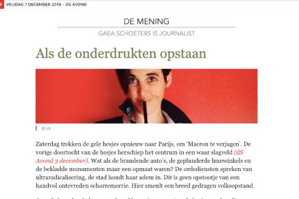 Als de onderdrukten opstaan, Gaea Schoeters, De Standaard, 5 december 2018