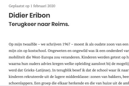 Didier Eribon, Terugkeer naar Reims, Paul Verhaeghe, Boekenblog, 1 februari 2020